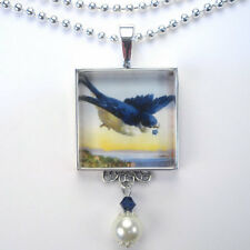 BLUEBIRD OF HAPPINESS VINTAGE CHARM SILVER OR BRONZE BLUE BIRD PENDANT NECKLACE