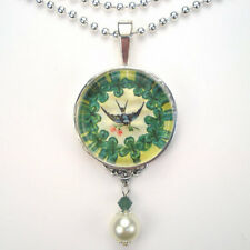 LUCKY SHAMROCK CLOVER BLUE BIRD VINTAGE CHARM SILVER OR BRONZE PENDANT NECKLACE