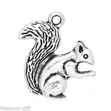Wholesale Lots HX Charm Pendants Squirrel Silver Tone 21x21mm