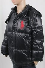 POLO Ralph Lauren Black Puffer Big Pony Down Coat Jacket Hooded NWT $175