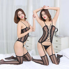 Women Lady Sexy Black Strappy Lace Bandage Bodystocking Lingerie Jumpsuit Tights