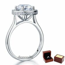 Sterling 925 Silver Halo Bridal Engagement Ring 2 Ct Brilliant Round Lab Diamond
