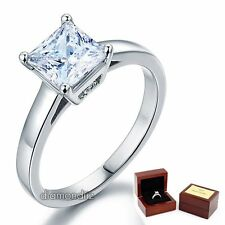 Sterling 925 Silver Engagement Ring 1.5 Ct Princess Cut Lab Created Diamond