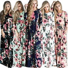 Women Floral Print Long Sleeve Boho Dress Cocktail Evening Party Long Maxi Dress