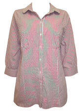 Womens Tunic Blouse Shirt Top Size 18 22 New Ladies Red White striped Cotton