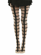 HOT TOPIC FASHION  SHEER NUDE  BIG GRID CAGE DESIGN FOOTED TIGHTS PANTYHOSE NWT
