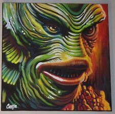 "CREATURE FROM THE BLACK LAGOON HORROR  18""X18"" POP ART  PAINTING  CARGILL"