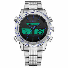 OHSEN Silver Analog Digital Dual Time Mens Quartz Steel Waterproof Wrist Watch