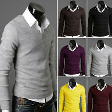 Men Slim Knitted Pullover V Neck Cardigan Long Sleeve Sweater Outwear Jumper Top