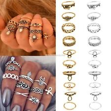 New Vintage Style 10PCS/Set Finger Ring Alloy Punk Style Carve Decor EN24H01