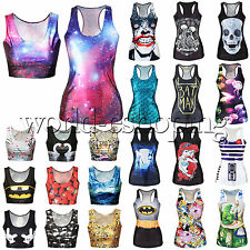 Womens 3D Digital Print Crop Tank Top Vest Lady Stretch Gothic Punk Rock T-Shirt