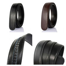 Genuine Leather Men No Automatic Buckle Strap Waist Belts Waistband 125-130cm