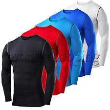 Mens Compression Thermal Under Shirts Base Layer Tops Long Sleeve Tights T-shirt