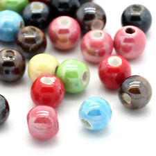 Assorted 50-200Pcs Round Ceramic Porcelain Loose Spacer Beads Charms Jewelry 6mm