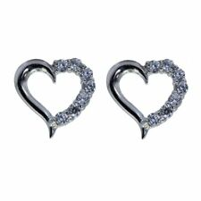 Heart Earrings 14 CZ Stones in all 1.6 TCW 925 Rhodium Finished Sterling Silver