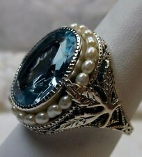 *Aquamarine*& Pearl Sterling Silver Leaf Victorian Filigree Ring {Made To Order}