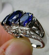 *Blue Sapphire* Sterling Silver Filigree Edwardian Cocktail Ring Size Any/MTO