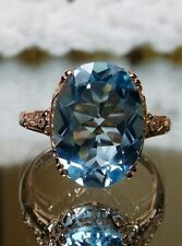 Sky Blue Topaz 10k Solid Rose Gold Edwardian Filigree Ring Size {Made To Order}