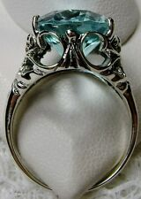 8ct Oval *Aquamarine* Sterling Silver Vintage Filigree Ring Size {Made To Order}