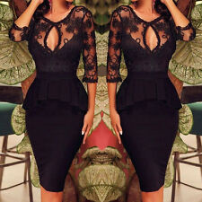 Sexy Womens Black Bodycon Floral Lace Evening Cocktail Party Pencil Dress UK8-20