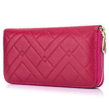 Women Spot Embossed Genuine Leather Wallet Female Long Zipper Leather Coin Purse