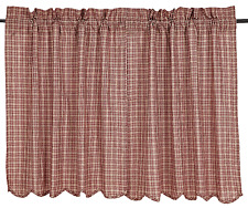 Independence Plaid Tiers Pair in Red and Tan, Scalloped Hem, Choice of Two Sizes