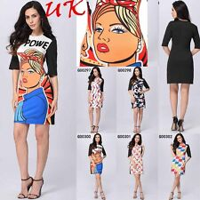 Womens Ladies Floral Cartoon Printed Short Sleeve Tunic Bodycon Mini Dress 8-20