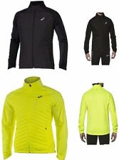 Mens asics HYBRID Running Jogging Fitness Jacket MOTION PROTECT Black Vis Yellow
