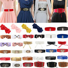 Fashion Women Stretch Buckle Wide Waist Belt Elastic Corset Dress Belt Waistband