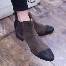 Mens Chelsea Ankle Boots Suede Leather Chukka Vintage pull on Shoes Retro pointy