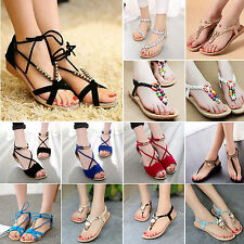 Womens Summer Beach Sandals Boho T-Strap Thong Slippers Flip Flop Flat Shoes new