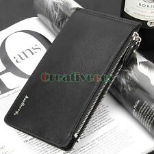 Men's Fashion Black Double-Zipper Long Wallet Pocket Cards Clutch Coin Purse New
