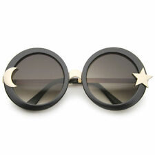 Women's Moon And Star Metal Temple Oversize Round Sunglasses 55mm Festival Rave