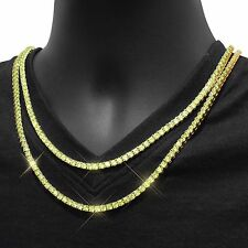 "Yellow CZ Tennis Necklace 3mm Choker Chain Mens HipHop 18""-24"" Inch 1 Row Mens"
