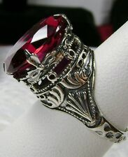 10ct *Red Ruby* Sterling Silver Leaf Queen Filigree Ring Size {Made To Order}