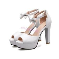 New Womens Sweet Peep Toe Bowknot Ankle Strap Pumps High Heels Sandals US Size Y