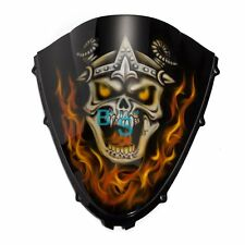 Airbrushed Flame Skull Windscreen Windshield For kawasaki Fairing motorcycle BS