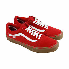 Vans Old Skool Pro Mens Red Suede High Top Lace Up Sneakers Shoes