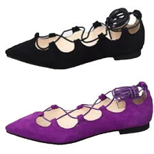 Womens Flats Lace Up Dolly Ballet Shoes Ladies Ballerina Pumps Cross Over Size G
