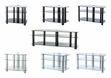 Sona Modern Glass Tv Cabinet Stand - Black & Black Glass or Silver & Clear Glass