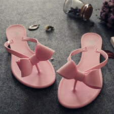 Women's Summer Flat Jelly Cute Flower Sandals Candy Slip On Thong Slipper Shoes