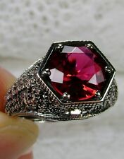3ct *Ruby* Solid Sterling Silver Victorian Design Filigree Ring {Made To Order}