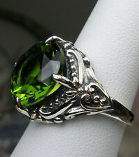 6ct Round *Peridot* Sterling Silver Victorian Filigree Ring Size {Made To Order}