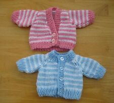 "Hand Knitted Tiny Striped Premature Baby Cardigan 3-5lb 10"" Chest Blue or Pink"