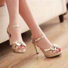 Stylish Womens rhinestone Bowknot Sandals Ankle Strap party prom Slingback Shoes