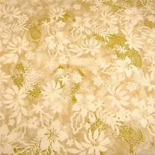 Hawaiian Print, Aloalo Pau & Lau Cream, Soft Gold, Cotton Fabric by FabriQuilt