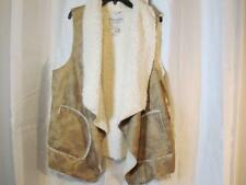 NWT American Rag Cie Camel Brown Faux Fur Lined Plus Vest 1X 2X 3X Org $89.50