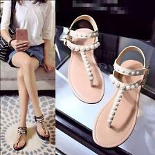 Womens Flat Shoes thong Pearl Flower Flip Flop Sandals Ankle Strap Slingback