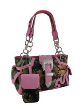 Forest Camo Rhinestone Buckle Concealed Carry Purse w/Cell Pouch