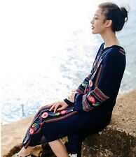 Mexican Women Embroidery Tunic Boho Hippie Beach Maxi Long Sleeve Dress Costume